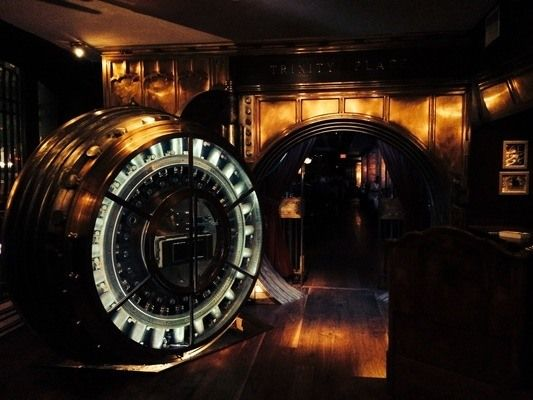 Trinity Place Bank Vault Bar: TRINITY PLACE BANK VAULT BAR This lower Manhattan bar is set up in an old bank vault that rests beneath a skyscraper that hides even more historic splendor