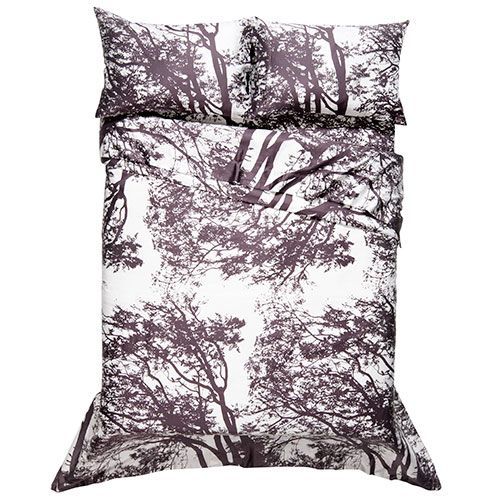 Marimekko Tuuli Raisin Bedding Collection. First designed by Maija and Kristina Isola in 1971, Tuuli depicts long and limber branches swaying in the breeze. Made of 100% cotton sateen, this super soft bedding features sheets, shams and duvets that are all machine washable.
