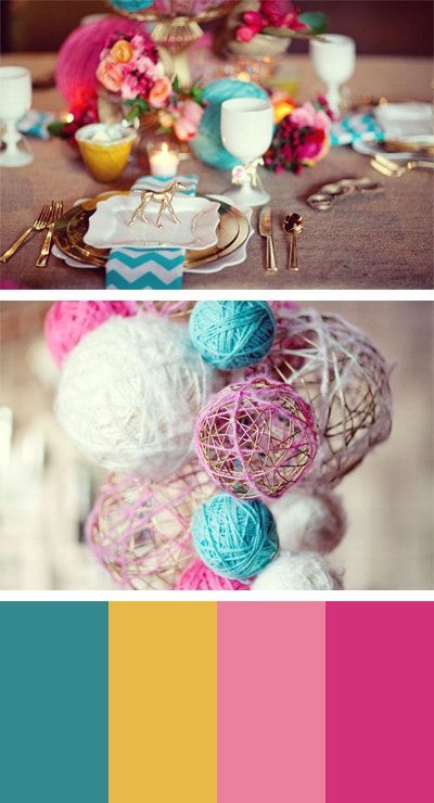 5. Color theme: Blue, mustard, pink #modcloth #wedding