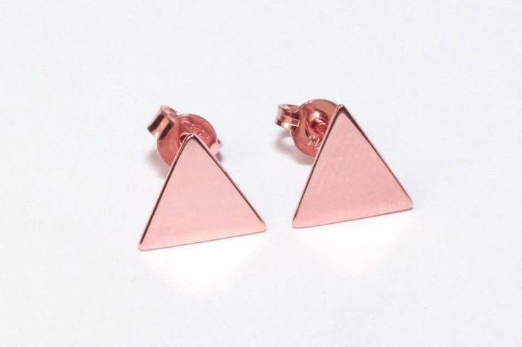 9ct solid handmade rose gold triangle stud earrings- by Brown + Brown Jewelry.