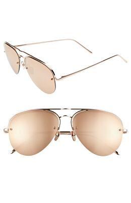 0c021c0df63 LINDA FARROW Designer 60mm Mirrored 18 Karat Gold Aviator Sunglasses ...