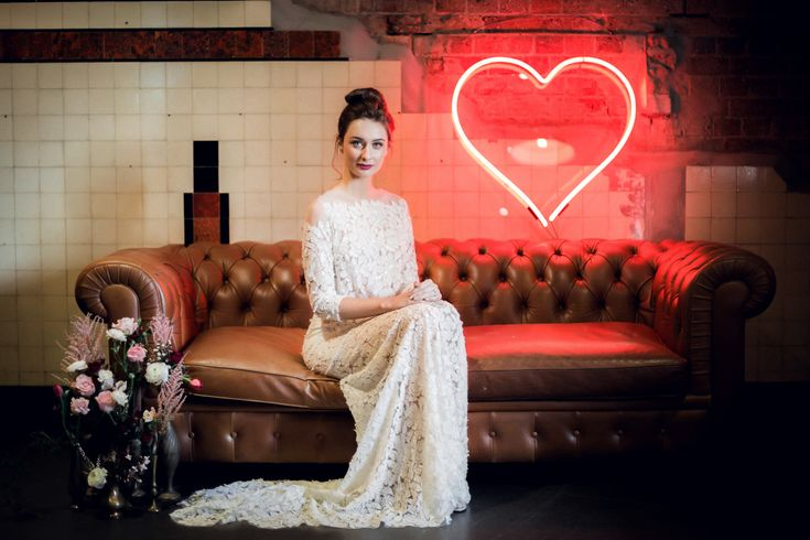 Big Red Neon Heart : neon wedding inspiration / show your love with neon!  From our Trans Hotel shoot, as featured on Burnett's Boards.
