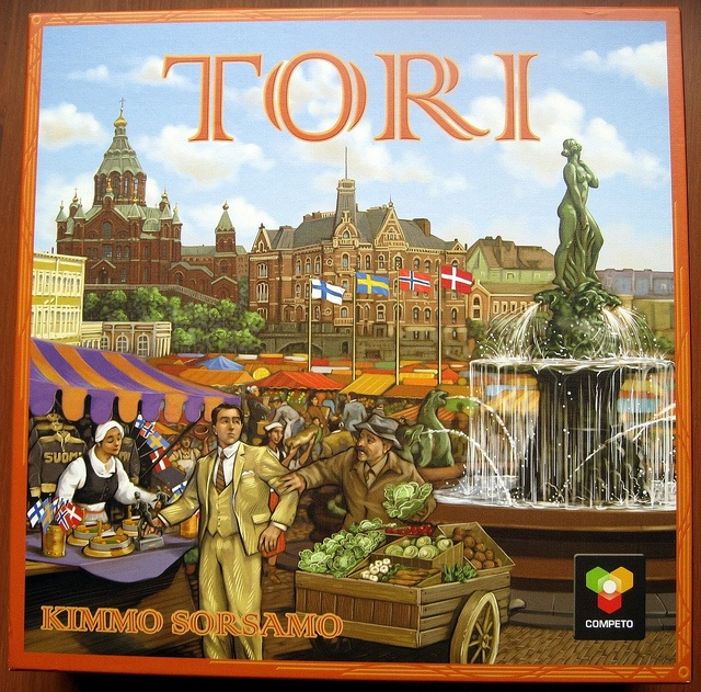 Tori board game. I love the cover of the box! Helsinki Market square, July 19, 1952. The market is sprawling with tourists from all over the world on the advent of the Helsinki Summer Olympics. The players represent stand holders who have come to the square from different provinces. Sell miniature replicas of the Paavo Nurmi statue, lemonade, ice cream, and of course Baltic herrings straight from the fishing boats! Hop in to the nostalgic ambience of the Market Square of the 1950s!