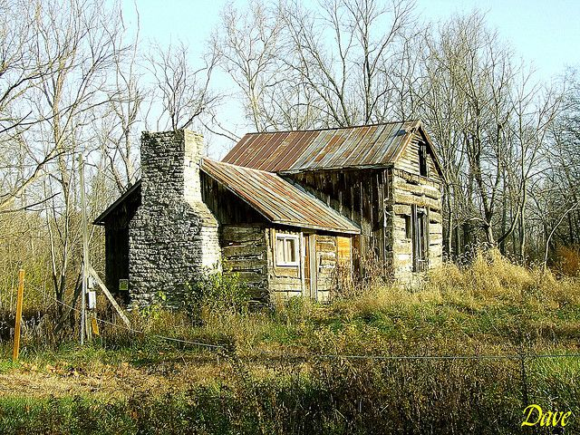 This lonely, abandoned log cabin sits overgrown with brush along Todd's Fork in Warren County, Ohio.