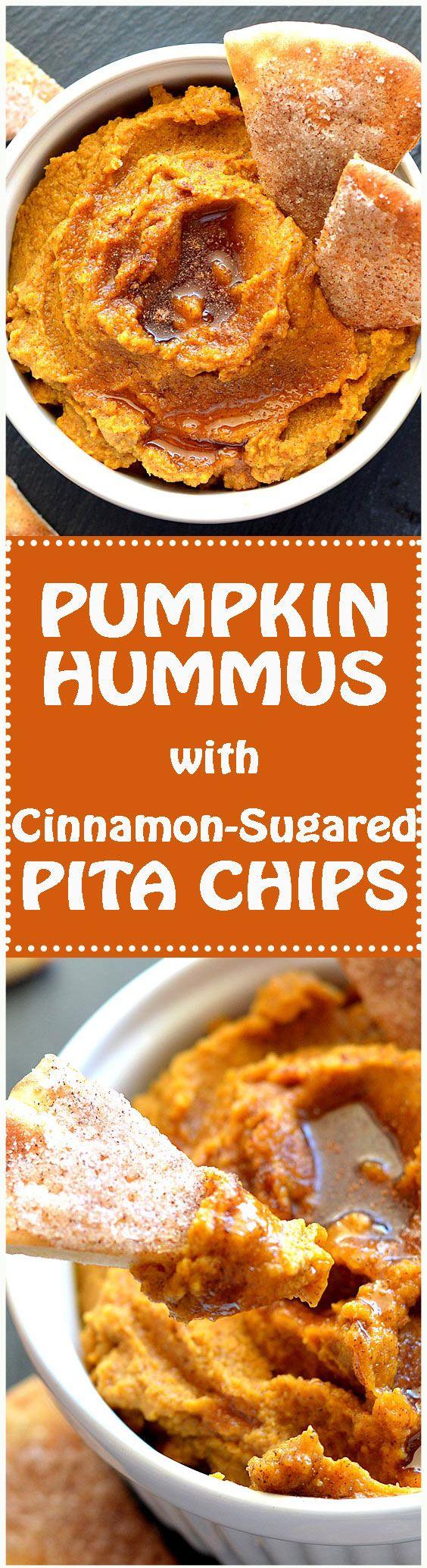 Pumpkin Hummus with Cinnamon Sugared Pita Chips