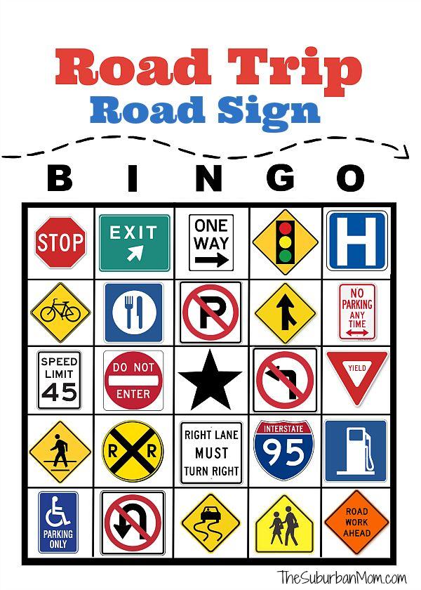 Road Trip Road Sign Bingo Printable - Fun entertainment for any road trip!