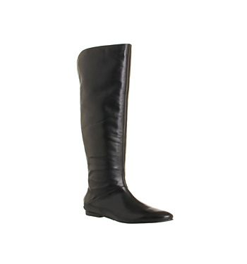 The Francki tall knee boot by Ted Baker in premium black leather features a silver back zip fastening, two toned leather upper with contrasting leg and slim block heel.