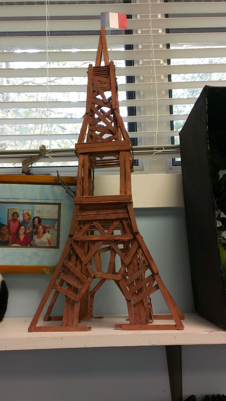 Eiffel Tower made with Popsicle Sticks!