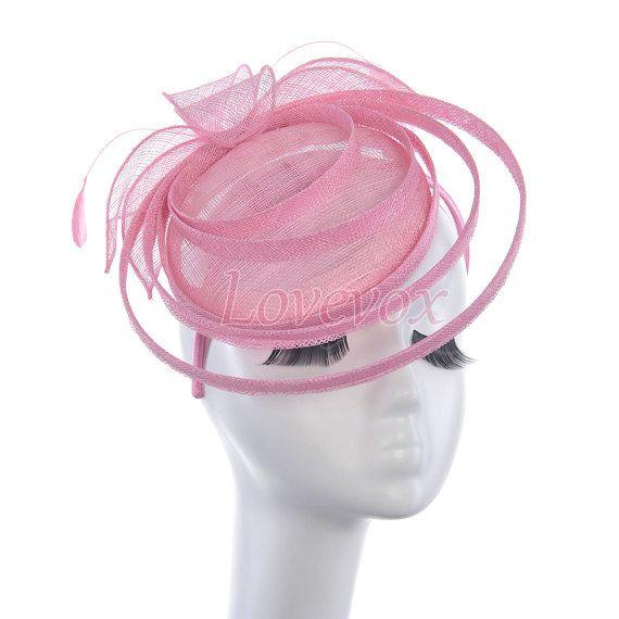 Rosa Fascinator Kentucky Derby Hut Feather Fascinator von LOVEVOX