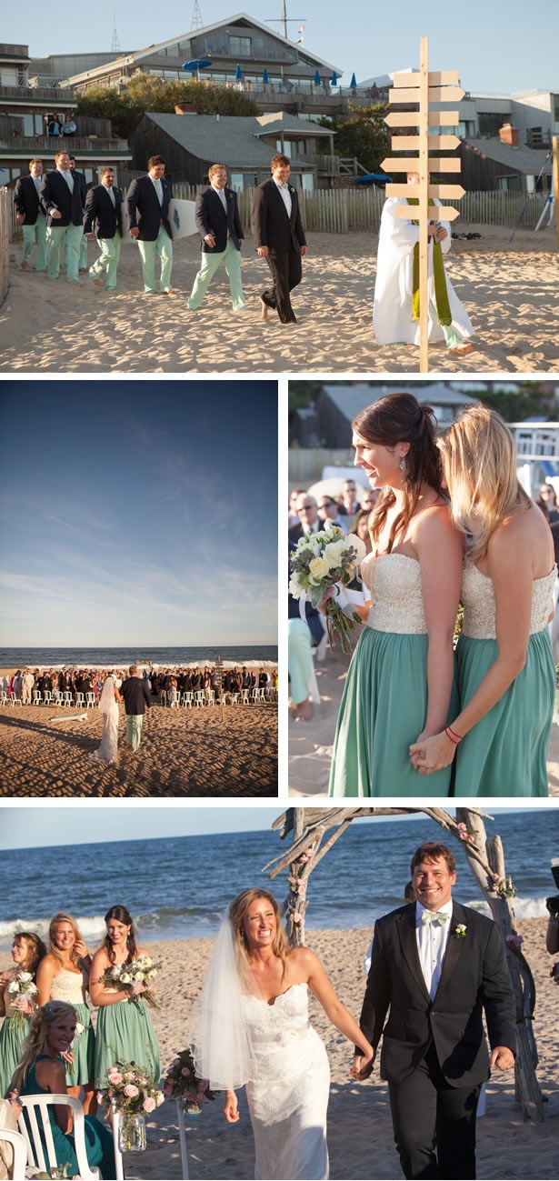 Pink and Green Summer Beach Wedding in Montauk, Long Island montauk-summer-beach-wedding-6 – WeddingWire: The Blog love this except for how formal the guys are..