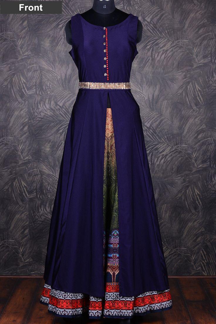 Midnight blue awesome cotton silk indo-western salwar-GC1147 - Indo Western…