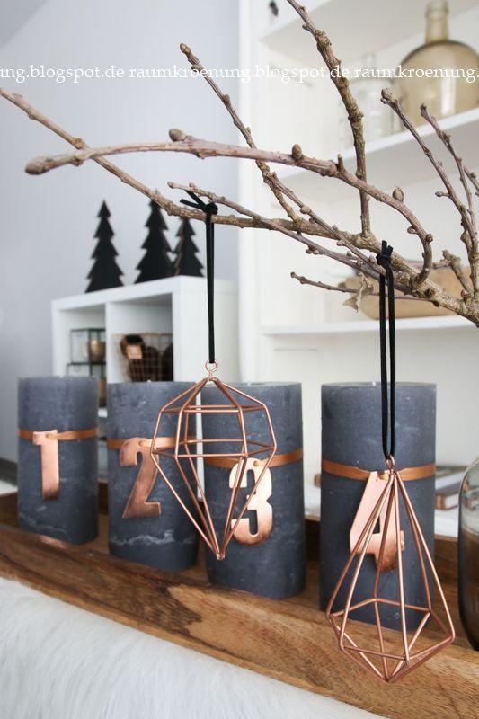 Adventskranz-Alternative: Graue Kerzen mit Kupfer und Natur