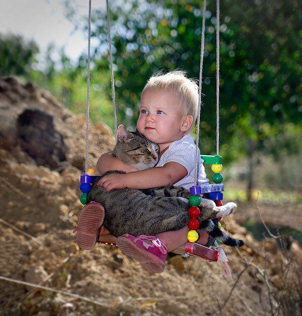 Домашние животные и их маленькие хозяева. Дети, кот, Собака, кролики, милота, Фото, из интернета, длиннопост