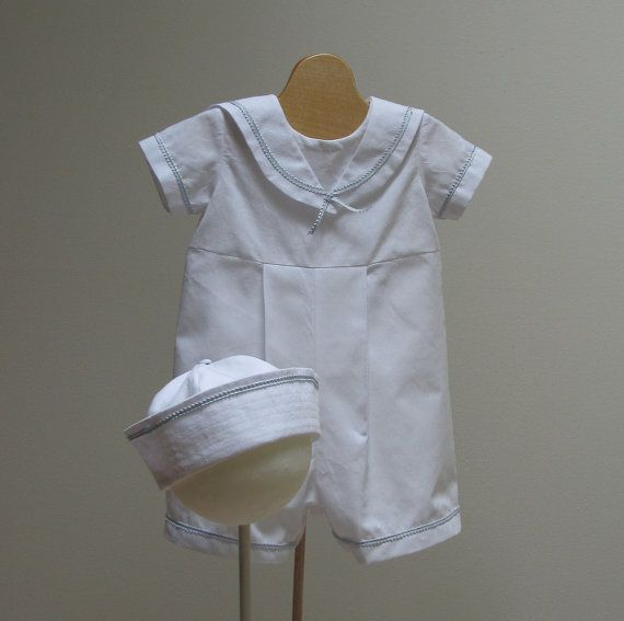 little boy Christening Sailor Suite and Hat made from an Italian 100% cotton shirting fabric