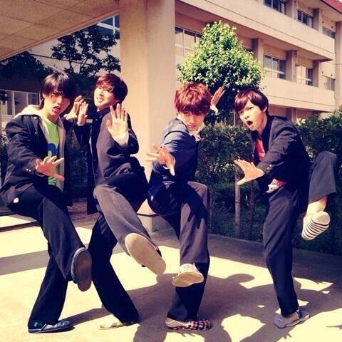 "Taishi Nakagawa, Kento Yamazaki, Ryo Yoshizawa, Yudai Chiba, BTS photo, J drama, sports comedy, ""Suikyu Yankees(Water Polo Yankees), 2014. Plot & Ep.1-10: http://dramanice.com/drama/suikyu-yankees-detail [Eng. Sub] So funny n nice drama!!!"