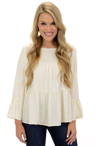 Triple Time Top, Ivory :: NEW ARRIVALS :: The Blue Door Boutique