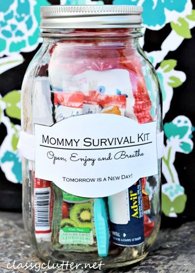 Thankfully, a DIY mommy survival kit in a jar for mom that helps to offset the day-to-day craziness and makes for a wonderfully thoughtful gift!