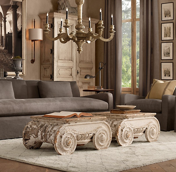 restoration hardware decor. Distressed Ionic Capital Coffee Table  Set of 2 Tables Restoration Hardware 44 best hardware look book images on Pinterest