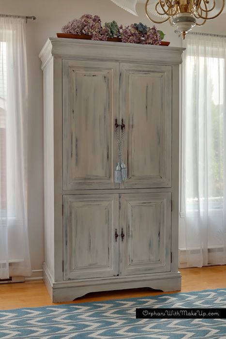 MEDIA CABINET TURNED ARMOIRE — Orphans With MakeUp  Here she used Miss Mustard Seed's milk paint