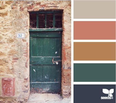 a door colorColor Palettes, Living Room Colors, Design Seeds, Rustic Doors, Color Pallets, Colors Palettes, Colors Schemes, Dark Teal Colors Pallets, Doors Colors
