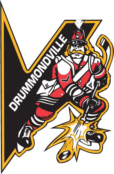 Drummondville Voltigeurs Primary Logo (1995) - A V with a hockey playing infantryman