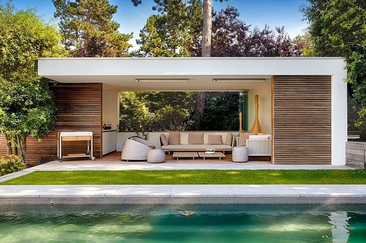 Moderne poolhouse in hout en crépi | Bogarden