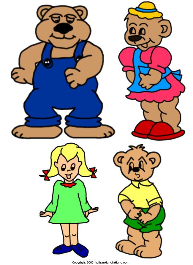 """Goldilocks and Three Bears"" (1 of 3)..To Print Visit http://www.autismhandinhand.com/flash_goldilocks.htm"