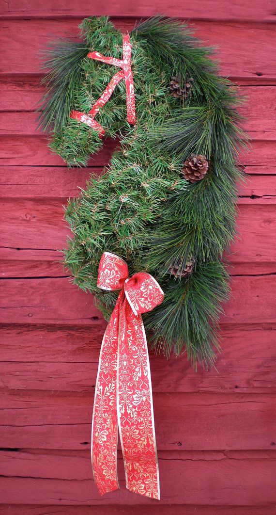 HOLIDAY NOTE: My holiday order schedule is already filling up FAST! If you would like artificial pine horse head wreaths for yourself or as Christmas