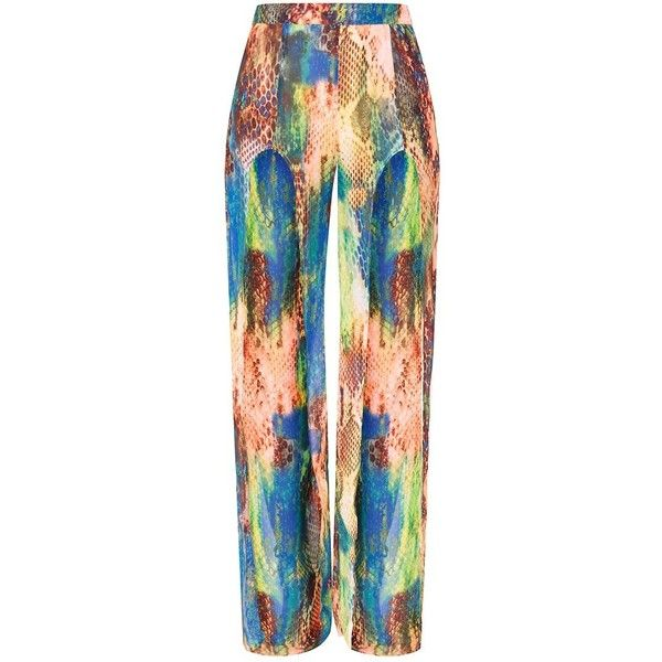 Multi Snake Split Trousers ($40) ❤ liked on Polyvore featuring pants, python pants, chiffon trousers, snakeskin print pants, snake pants and snake print pants