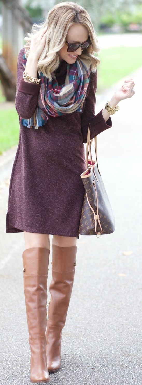 Plaid Blanket Scarf Burgundy Sweater Dress Fall Inspo by A spoonful of Style