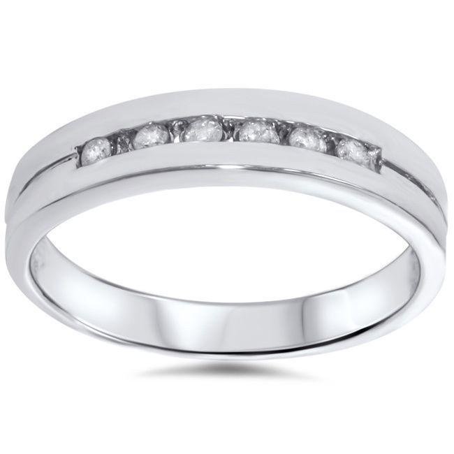 Stunning k White Gold ct TDW Channel Set Diamond Wedding Ring I J I I Size
