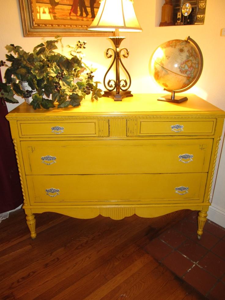 Mustard Yellow Distressed Sideboard