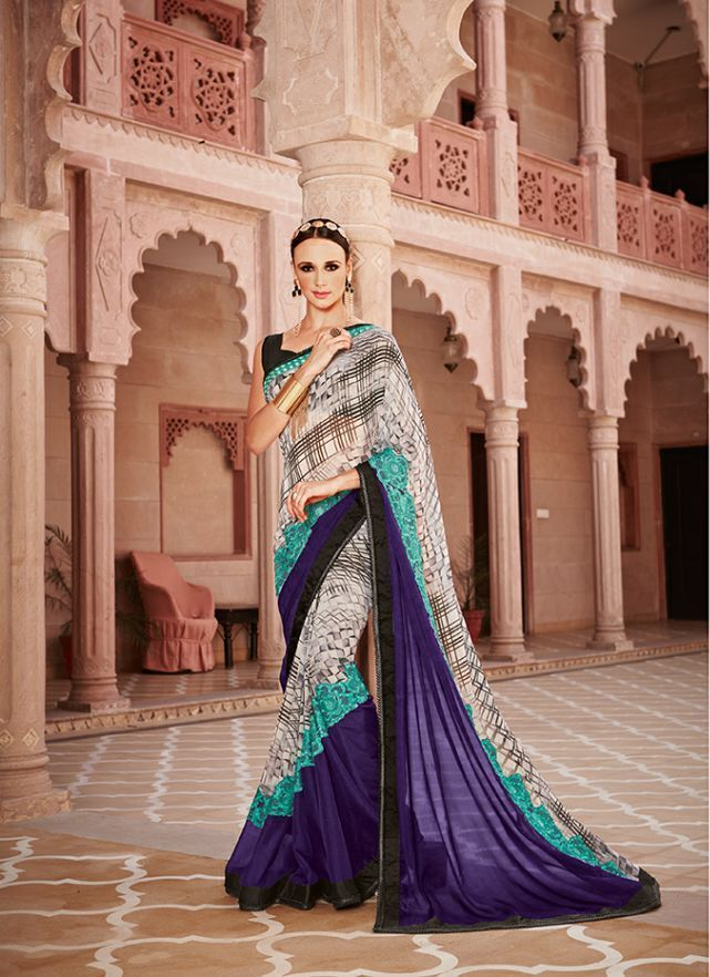 Blue and green embroidery designer saree