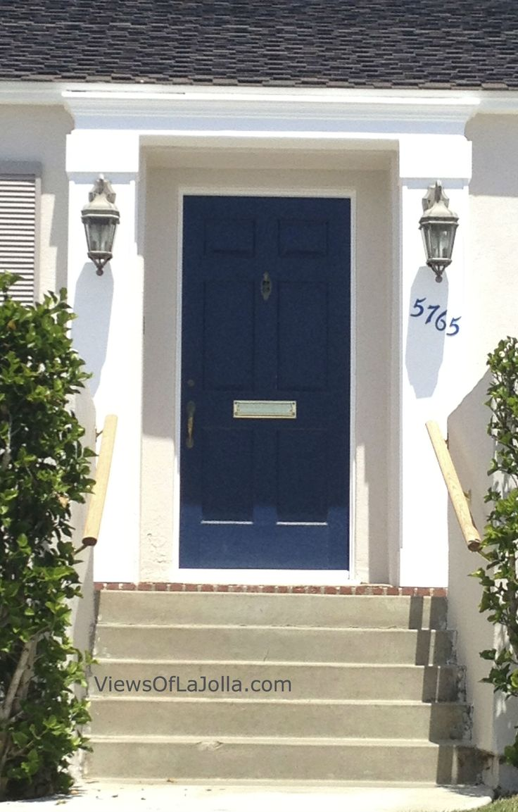 White Front Door Blue House