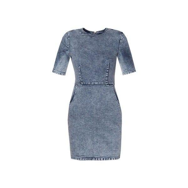 ZALORA Love Denim Bodycon Dress ($21) ❤ liked on Polyvore featuring dresses, body conscious dress, bodycon dress, denim dress, blue dress and blue bodycon dress