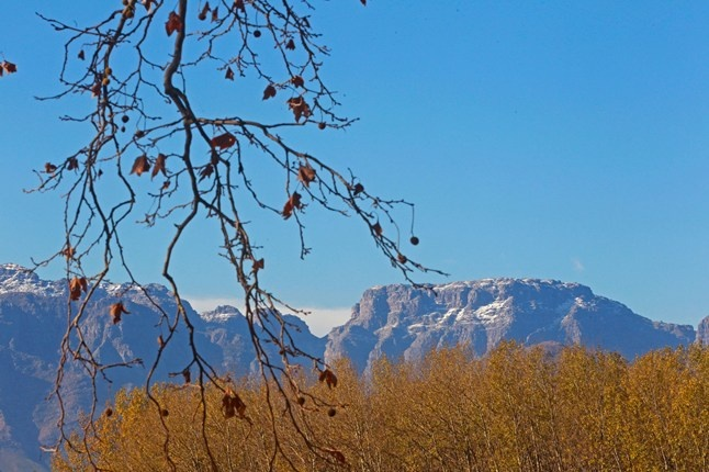 A dusting of snow on the mountains of Franschhoek, in South Africa's Western Cape.