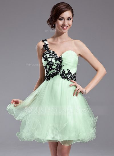 Homecoming Dresses - $122.99 - A-Line/Princess One-Shoulder Short/Mini Tulle Homecoming Dress With Ruffle Lace Beading Sequins (022011005) http://jjshouse.com/A-Line-Princess-One-Shoulder-Short-Mini-Tulle-Homecoming-Dress-With-Ruffle-Lace-Beading-Sequins-022011005-g11005  Choice #1