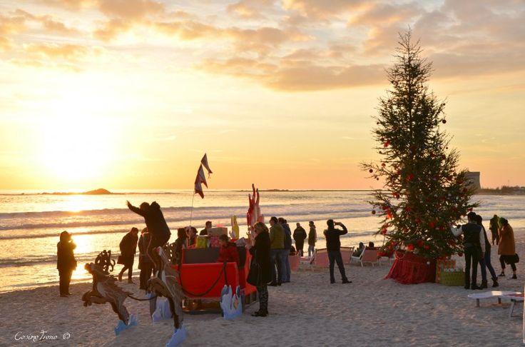 Salento, tintarella in spiaggia sotto l'albero di Natale