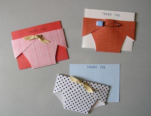 Baby shower thank-you notes.  http://wrenhandmade.typepad.com/wren_handmade/2010/06/baby-thank-you-notes.html