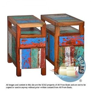 bedside cabinets, reclaimed boat timber. Nautical, recycled, reclaimed, boatwood, boat furniture.