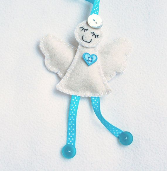Angel ornament felt White and blue polka dots by PrettyFeltThings
