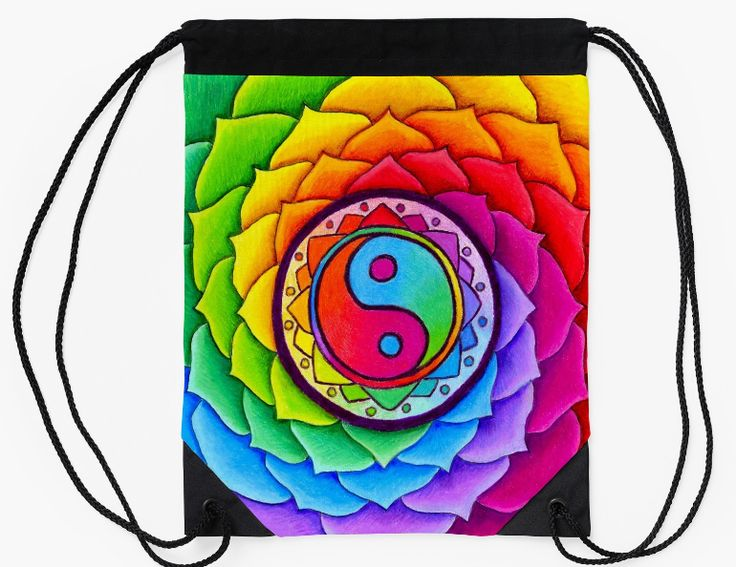 """Healing Lotus Rainbow Yin Yang Mandala Colorful drawstring bag by Rebecca Wang on Redbubble. Go out in style with these colorful drawstring bags! Bag measures 15.5"""" wide and 19.5"""" tall. Made from 100% polyester woven fabric with a wide, soft drawcord that's easy on your shoulders. Durable quality metal grommets."""