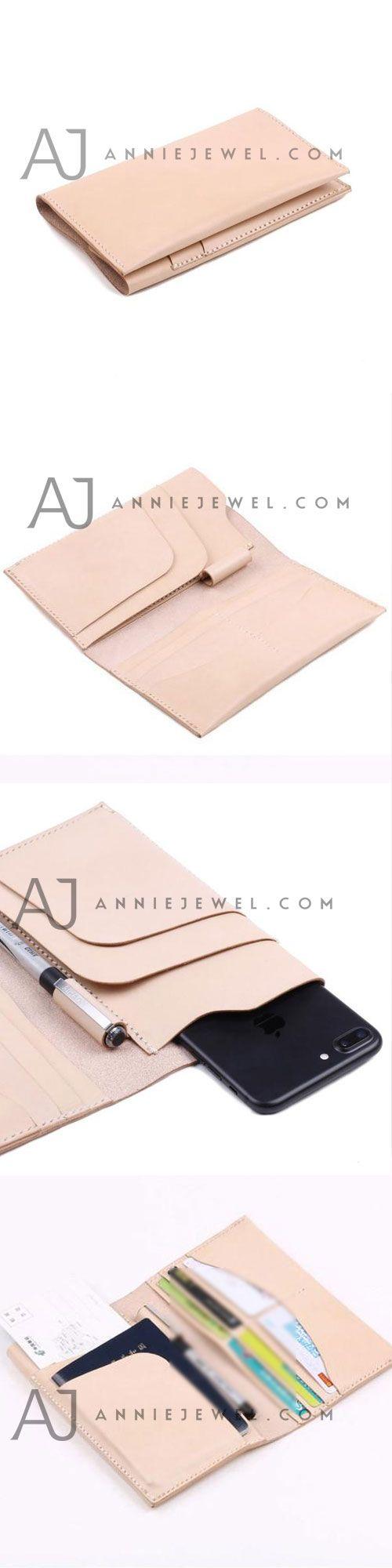 Handmade leather passport women long wallet clutch phone purse wallet