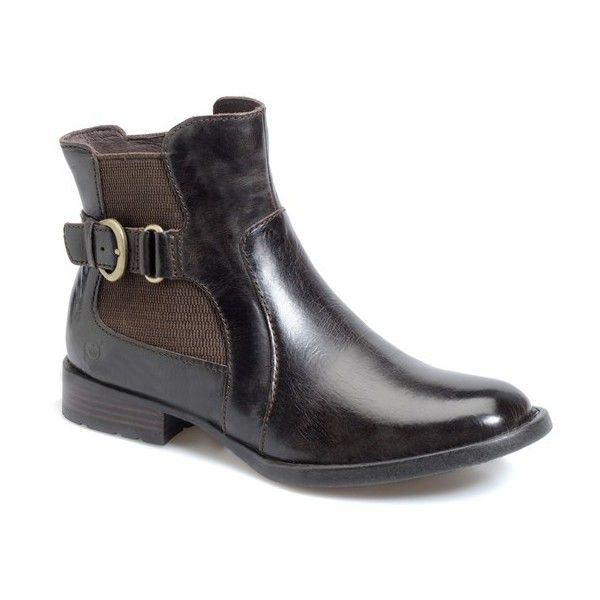 "Born 'Stewart' Boot, 1"" heel ($129) ❤ liked on Polyvore featuring shoes, boots, ankle booties, ankle boots, mushroom leather, leather upper boots, born boots, short boots, leather booties and bootie boots"