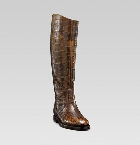 mens riding boots | Gucci Mens Collection Riding Boot with Gucci Crest Detail in Brown for ...