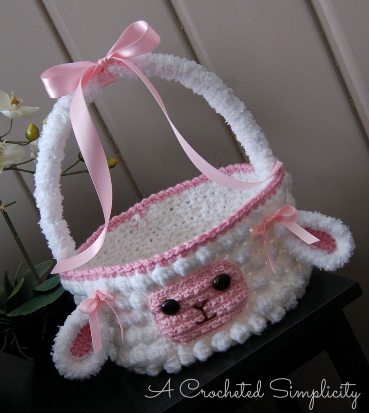 "Crochet Pattern: ""Lily or Lyle"" the Lamb Easter Basket by A Crocheted Simplicity…"