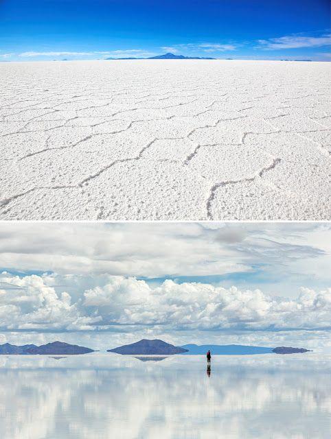 Салар де Уюни, Боливия  крупнейшие соленые озера, когда падает вода, этот край похож на огромное зеркало