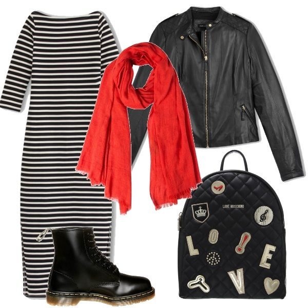 Abbigliamento comodo, adatto per il tempo libero, con un occhio attento alla moda del momento: le righe. L'abito lungo ha lo scollo a barchetta e due spacchi sul fondo. Ho immaginato un look casual, con i Dr. Martens alti, il giubbotto in pelle nera da aviatore e lo zainetto di Moschino. Unica nota di colore la sciarpa rossa.
