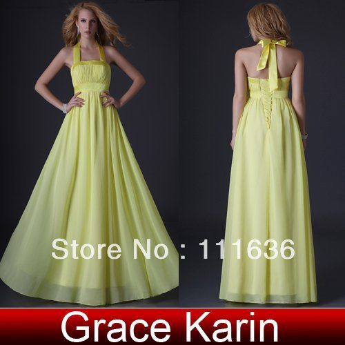 2013 New fashion GK Stock Full-Length Halter bridesmaid Gown Prom Ball Evening Dress 8 Size CL3432 Free Shipping! $45.47