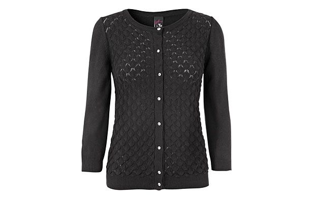 """Mixed Stitch Cardigan.  """"You'll say adios to boring cover-ups forever once you slip on this chic, intricately-detailed cardigan."""""""